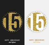Set of 15th Happy anniversary cards template with gold elements. Vector Stock Image