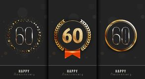 Set of 60th Happy anniversary cards template. Vector illusrtation Royalty Free Stock Photos