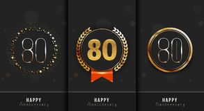 Set of 80th Happy anniversary cards template. Vector illustration vector illustration