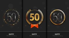 Set of 50th Happy anniversary cards template. Vector illustration Royalty Free Stock Image