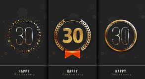 Set of 30th Happy anniversary cards template. Vector illustration Stock Images