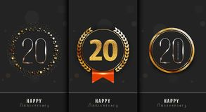 Set of 20th Happy anniversary cards template. Vector illustration Stock Images