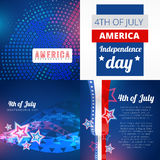 Set of 4th july american independence day background. Vector set of 4th  july american independence  day background Stock Photo