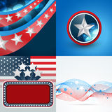 Set of 4th july american independence day background. Vector set of 4th july american independence day background with badge and wave effect vector illustration