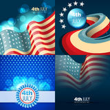 Set of 4th july american independence day background. Vector set of 4th july american independence day background with wave stock illustration