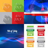Set of 4th july american independence day background. Vector set of 4th july american independence day with wave effect and creative background stock illustration