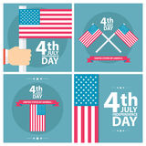 Set of 4th of july American independence day greeting cards with american flag. Flat design vector illustration Stock Images