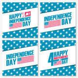 Set of 4th of july American independence day holiday banners. Vector illustration Royalty Free Stock Photography
