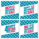 Set of 4th of july American independence day sale banners. Special offer backgrounds for business, promotion and advertising. Royalty Free Stock Images