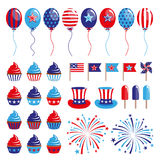 Set of 4th of July decoration elements. EPS stock illustration