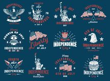 Set of 4th july emblem. Set of 4th july vintage emblem. Vector illustration Royalty Free Stock Images