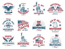 Set of 4th july emblem. Set of 4th july vintage emblem. Vector illustration Royalty Free Stock Photography
