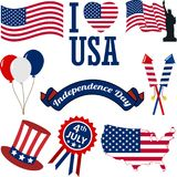 A set of 4th of July Icons in Vector Format. 4th of July, Independence Day of the United States, Simple Flat Icon Vectors Stock Photos