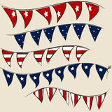 Set of 4th July party flags on string. Set of patriotic party flags on string. American 4th July Independence Day vector elements Royalty Free Stock Photo