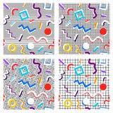 Set of 80th patterns geometry of different colors. Set of 80th patterns from geometry of different colors on different background from cells, circles Vector Illustration