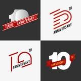 Set 10th rocznicowi znaki Fotografia Royalty Free