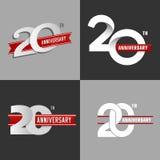 Set 20th rocznicowi znaki Zdjęcia Stock
