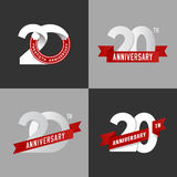 Set 20th rocznicowi znaki Fotografia Royalty Free