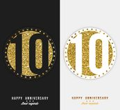 Set 10th Szczęśliwa rocznica grępluje szablon z złocistymi elementami Fotografia Stock