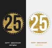 Set 25th Szczęśliwa rocznica grępluje szablon z złocistymi elementami Obrazy Royalty Free