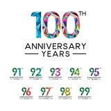 Set 91th to 100th anniversary years abstract triangle modern full col. Or. celebration logo vector vector illustration