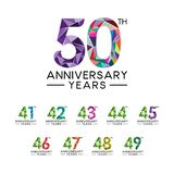 Set 41th to 50th anniversary years abstract triangle modern full col. Or. celebration logo vector Vector Illustration