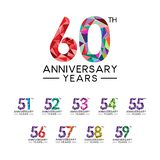 Set 51th to 60th anniversary years abstract triangle modern full col. Or. celebration logo vector stock illustration