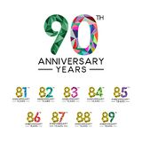 Set 81th to 90th anniversary years abstract triangle modern full color. Celebration logo vector royalty free illustration