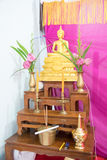 Set of Thai altar table with Buddha statue and holy water dipper Royalty Free Stock Photos