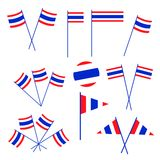 Set of Thai Flag on White Background Royalty Free Stock Images