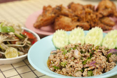 Set of Thai northeastern cuisine. Stock Images