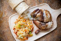 Set of Thai spicy papaya salad. With sticky rice and grill chicken traditional Thai style food royalty free stock photography