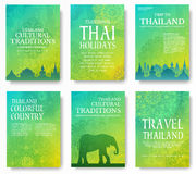 Set of Thailand country ornament illustration concept. Art traditional, poster, book, poster, abstract, ottoman motifs Royalty Free Stock Photo