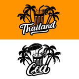 Set of Thailand and Goa hand written lettering. Royalty Free Stock Image