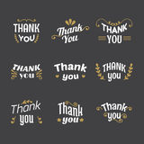 Set of Thank you labels, emblems, stickers, badges. Decoration d Stock Photography
