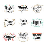 Set of 9 Thank you labels, emblems, stickers or badges. Decoration design elements. Vector illustration stock illustration