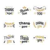 Set of Thank you labels, emblems, stickers or badges. Decoration Stock Image