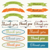 Set of Thank You stickers, badges, ribbons and tags. Design elem Royalty Free Stock Photos