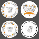 Set of thank you tags, decorative frames, gift tags, labels. Vector. Thank you tags/ labels for your design projects Royalty Free Stock Photo