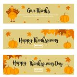 Set of Thanksgiving autumn, fall banners with turkey and pumpkins. Set of Thanksgiving autumn, fall banners with turkey, foliage and pumpkins Royalty Free Stock Images