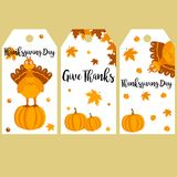 Set of Thanksgiving autumn, fall banners with turkey and pumpkins. Set of Thanksgiving autumn, fall banners with turkey, leaves and pumpkins Stock Images