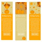 Set of Thanksgiving autumn, fall banners with turkey and pumpkins. Set of Thanksgiving autumn, fall banners with turkey, leaves and pumpkins Royalty Free Stock Image