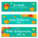 Set of Thanksgiving autumn, fall banners with turkey and pumpkins. Set of Thanksgiving autumn, fall banners with turkey, foliage and pumpkins Royalty Free Stock Photography