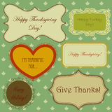 Set of thanksgiving banners and simple seamless patterns with maple leaves royalty free illustration