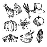Set of thanksgiving black sketches,  objects Royalty Free Stock Photography