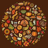 Set of Thanksgiving cartoon doodle objects Stock Photo