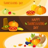 Set of cartoon thanksgiving day banner templates Royalty Free Stock Image
