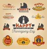 Set of Thanksgiving Day Labels. Happy Thanksgiving Day Sticker. Vector illustration Royalty Free Stock Photos