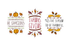 Set of Thanksgiving elements and text on white background Stock Images