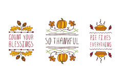 Set of Thanksgiving elements and text on white background Royalty Free Stock Image